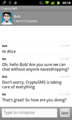 CryptoSMS screenshot