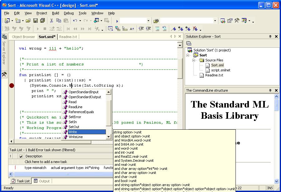 Sml Net In Visual Studio Net